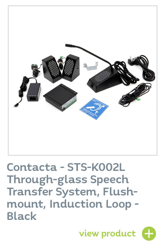 Contacta - STS-K002L Through-glass Speech Transfer System, Flush-mount, Induction Loop - Black