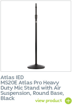 AtlasIED MS20E Atlas Pro Heavy Duty Mic Stand with Air Suspension, Round Base, Black