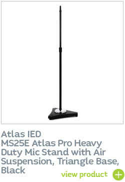 AtlasIED MS25E Atlas Pro Heavy Duty Mic Stand with Air Suspension, Triangle Base, Black