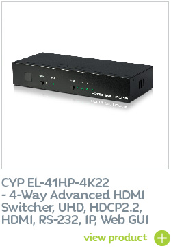 CYP EL-41HP-4K22 4-Way Advanced HDMI Switcher, UHD, HDCP2.2, HDMI, RS-232, IP, Web GUI