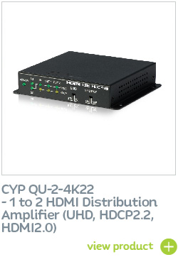 CYP QU-2-4K22 1 to 2 HDMI Distribution Amplifier (UHD, HDCP2.2, HDMI2.0)